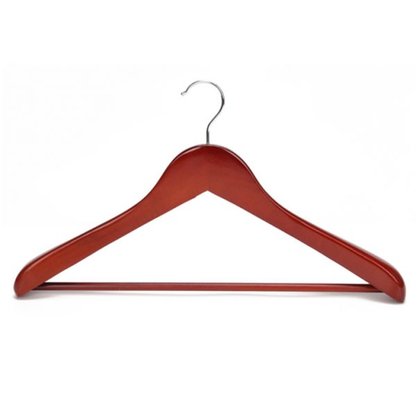 Vintage solid wooden coat hanger for middle and high end market elegant red color