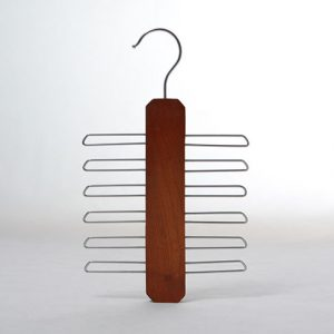Vintage space saver wooden tie hanger belt hanger with 6 tier